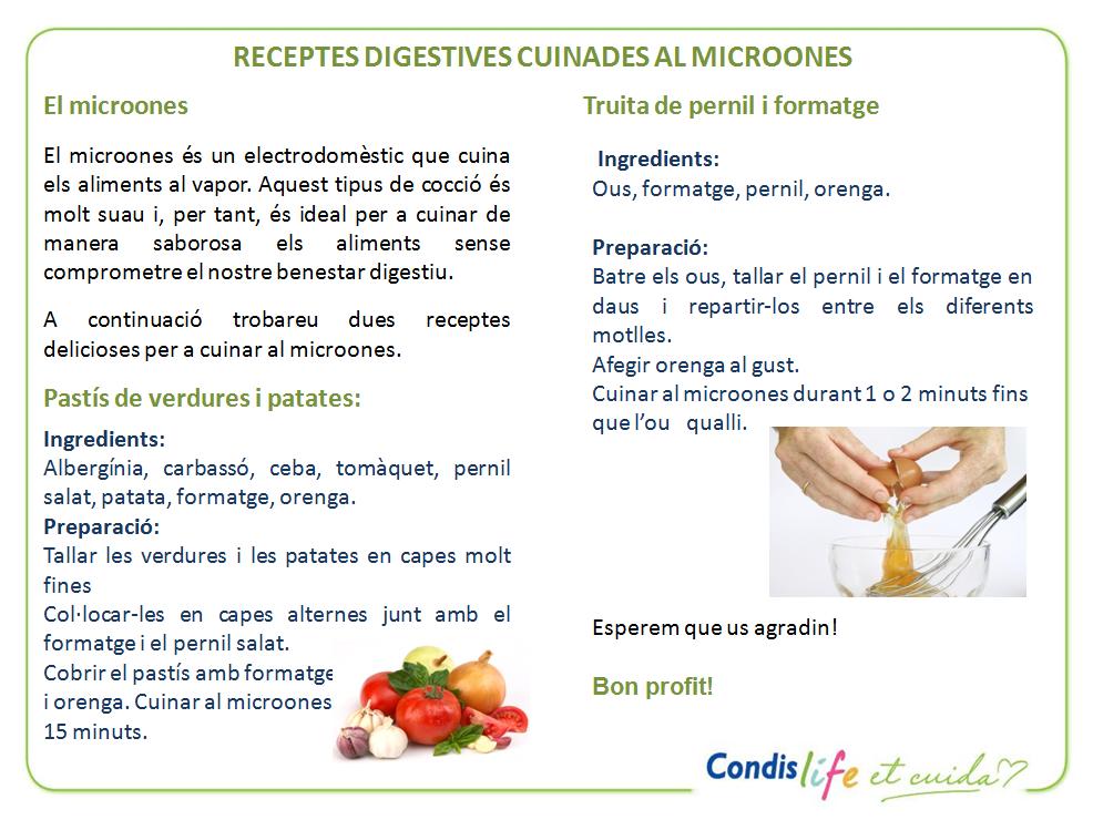 Receptes cuinades al microones