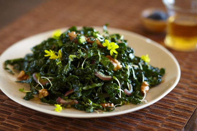 Kale Salad with Walnuts and Broccoli Flowers