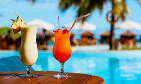 Two cocktails on luxury beach resort