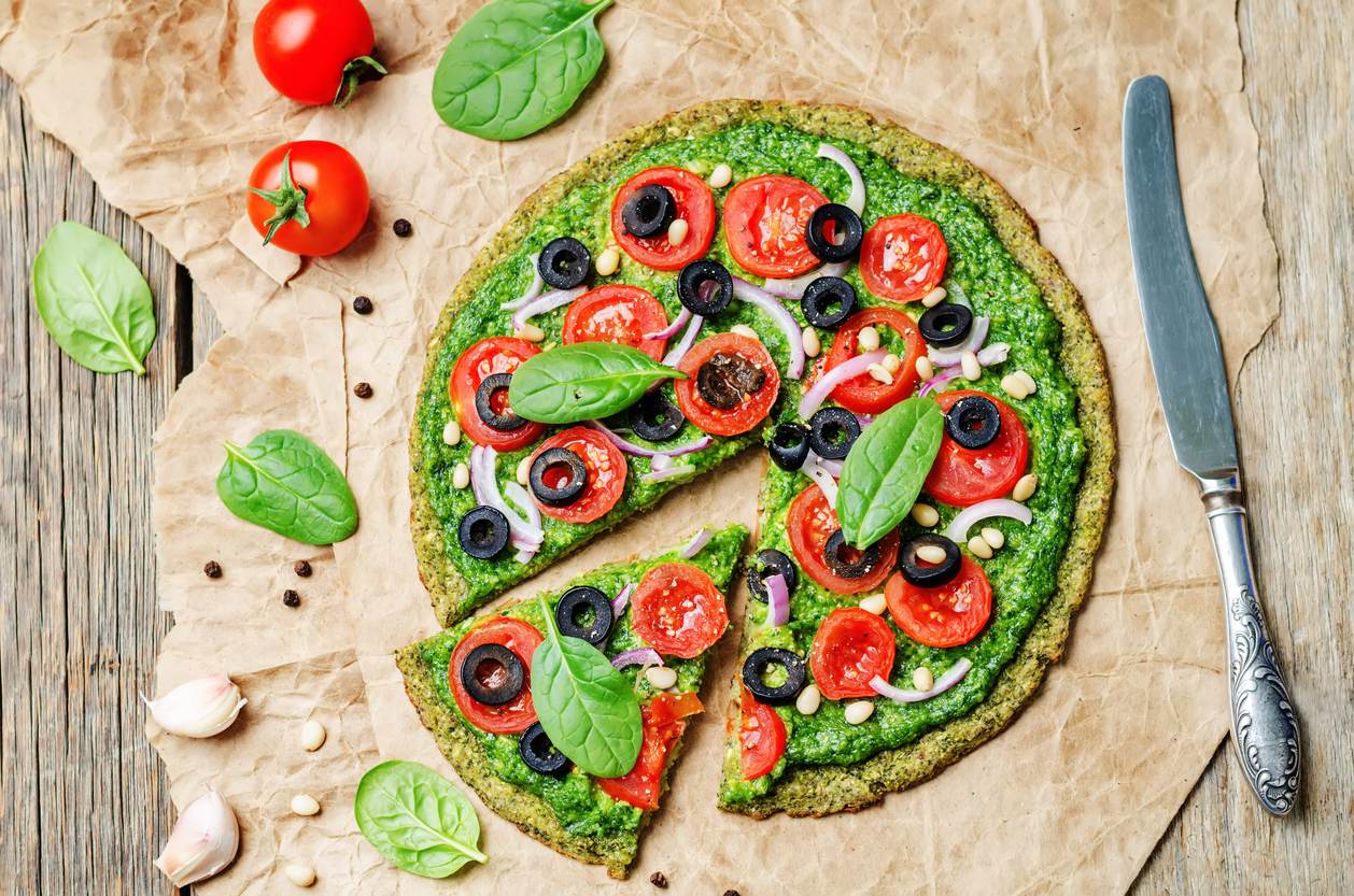 vegan broccoli zucchini pizza crust with vegetables